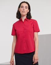 Ladies` Short Sleeve Classic Polycotton Poplin Shirt